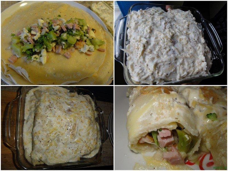 nalesniki szynka brokul sos serowo czosnkowy2 61. Naleśniki z szynką i brokułami w sosie czosnkowo serowym