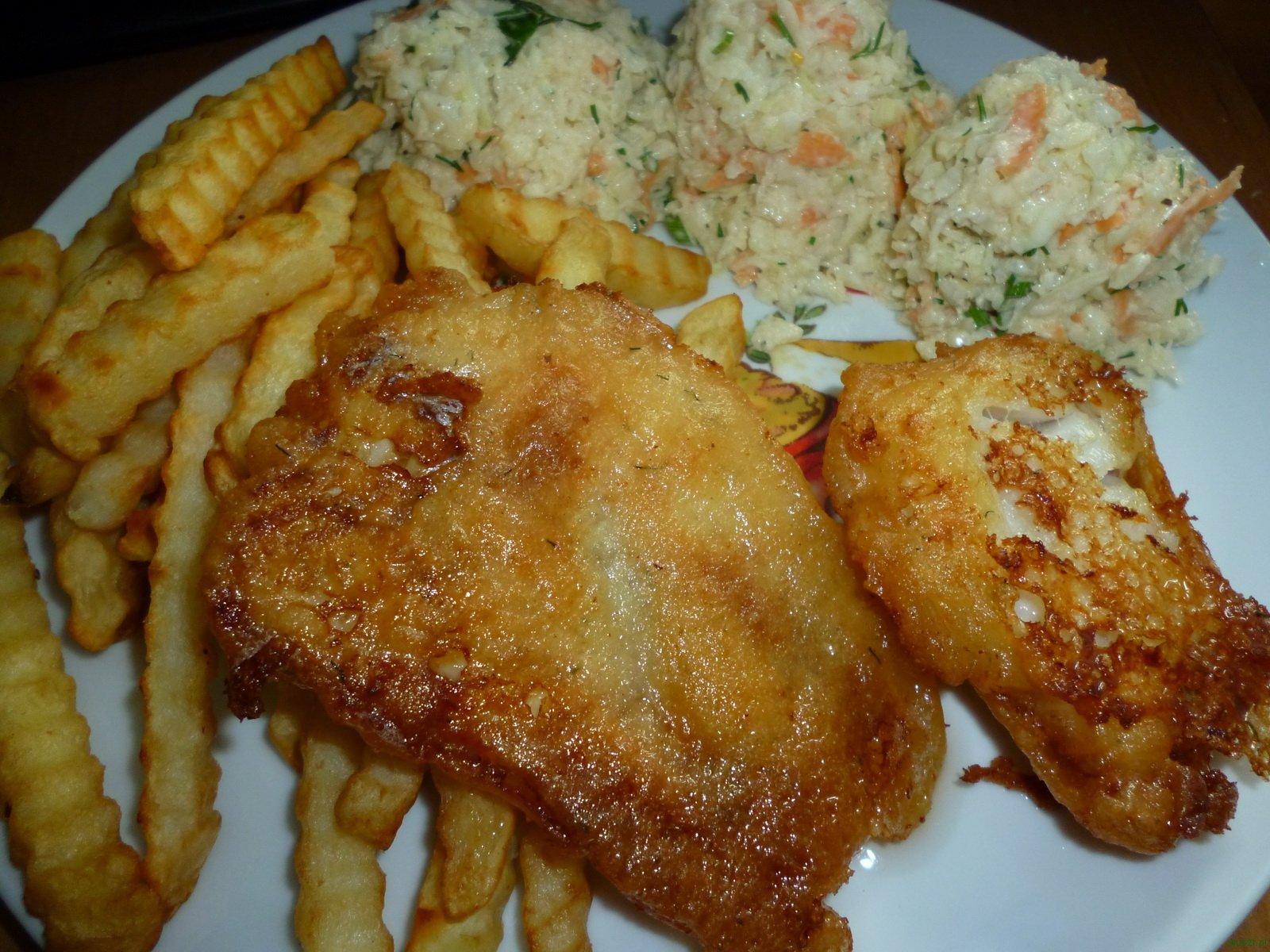 ryba w piwnym ciescie frytki coleslaw 89. Ryba w piwnym cieście, frytki i colesław
